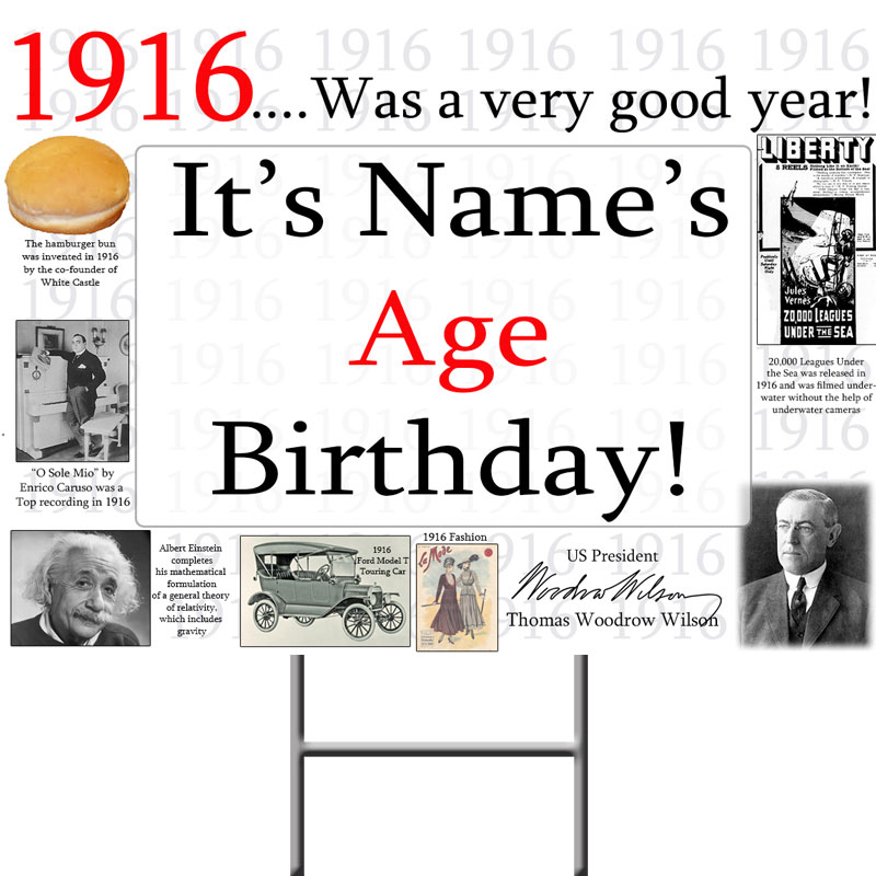 Click for larger picture of 1916 PERSONALIZED YARD SIGN PARTY SUPPLIES