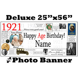 1921 CUSTOM PHOTO DELUXE BANNER PARTY SUPPLIES