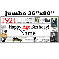 1921 JUMBO PERSONALIZED BANNER PARTY SUPPLIES