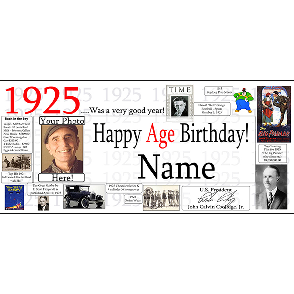 Click for larger picture of 1925 CUSTOM PHOTO DELUXE BANNER PARTY SUPPLIES