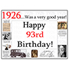 1926 - 93RD BIRTHDAY PLACEMAT PARTY SUPPLIES