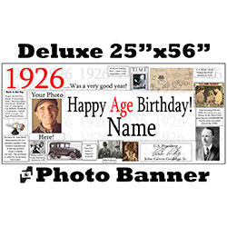 1926 CUSTOM PHOTO DELUXE BANNER PARTY SUPPLIES