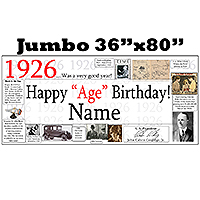 1926 JUMBO PERSONALIZED BANNER PARTY SUPPLIES