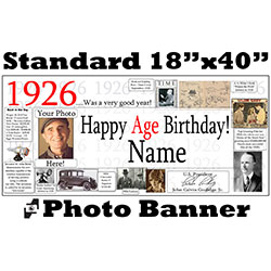 1926 CUSTOM PHOTO BANNER PARTY SUPPLIES
