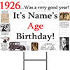 1926 PERSONALIZED YARD SIGN PARTY SUPPLIES