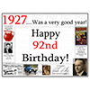 1927 - 92ND BIRTHDAY PLACEMAT PARTY SUPPLIES
