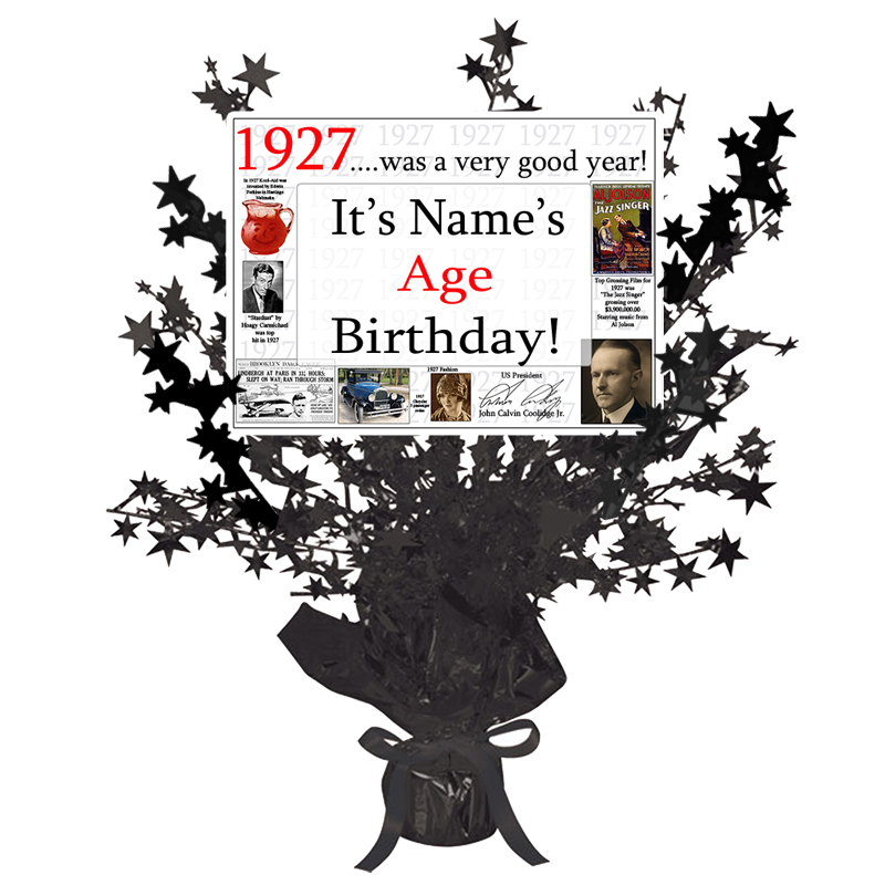 Click for larger picture of 1927 CUSTOMIZED BLACK STAR CENTERPIECE PARTY SUPPLIES