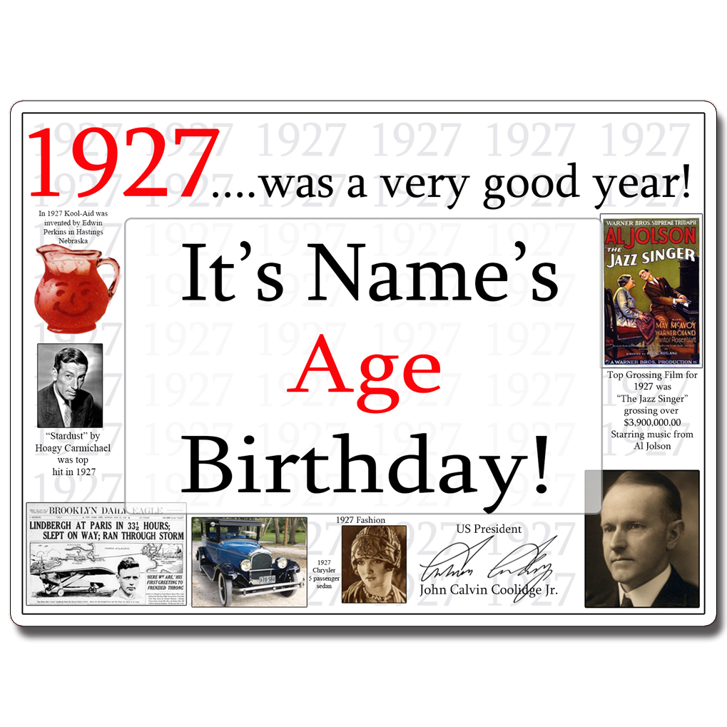 Click for larger picture of 1927 CUSTOMIZED DOOR POSTER PARTY SUPPLIES