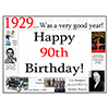 1929 - 90TH BIRTHDAY PLACEMAT PARTY SUPPLIES