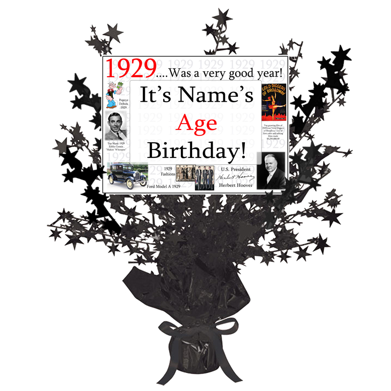 Click for larger picture of 1929 CUSTOMIZED BLACK STAR CENTERPIECE PARTY SUPPLIES