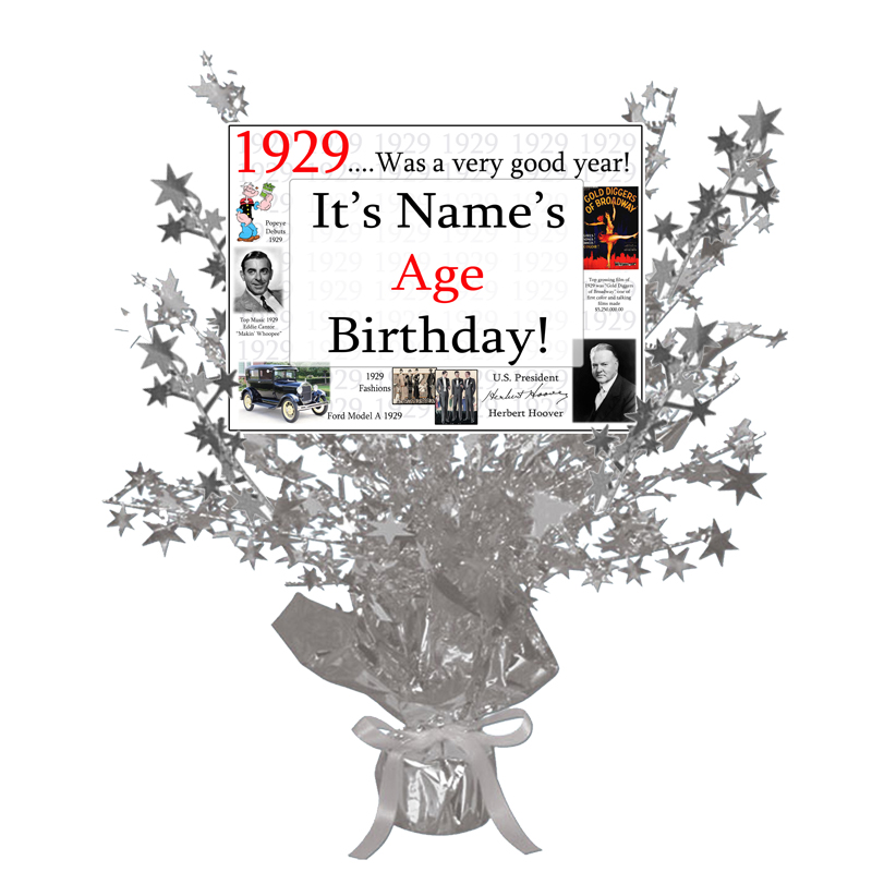 Click for larger picture of 1929 CUSTOMIZED SILVER STAR CENTERPIECE PARTY SUPPLIES
