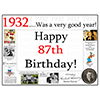 1932 - 87TH BIRTHDAY PLACEMAT PARTY SUPPLIES