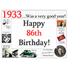 1933 - 86TH BIRTHDAY PLACEMAT PARTY SUPPLIES
