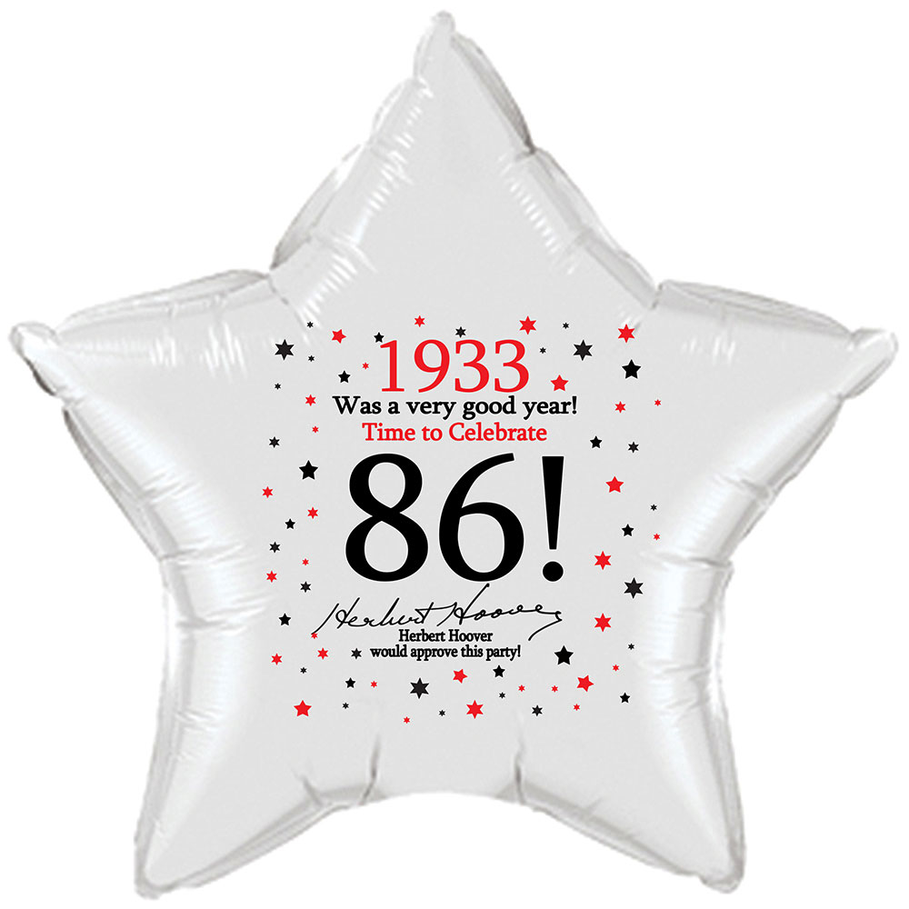 Click for larger picture of 1933 - 86TH BIRTHDAY STAR BALLOON PARTY SUPPLIES