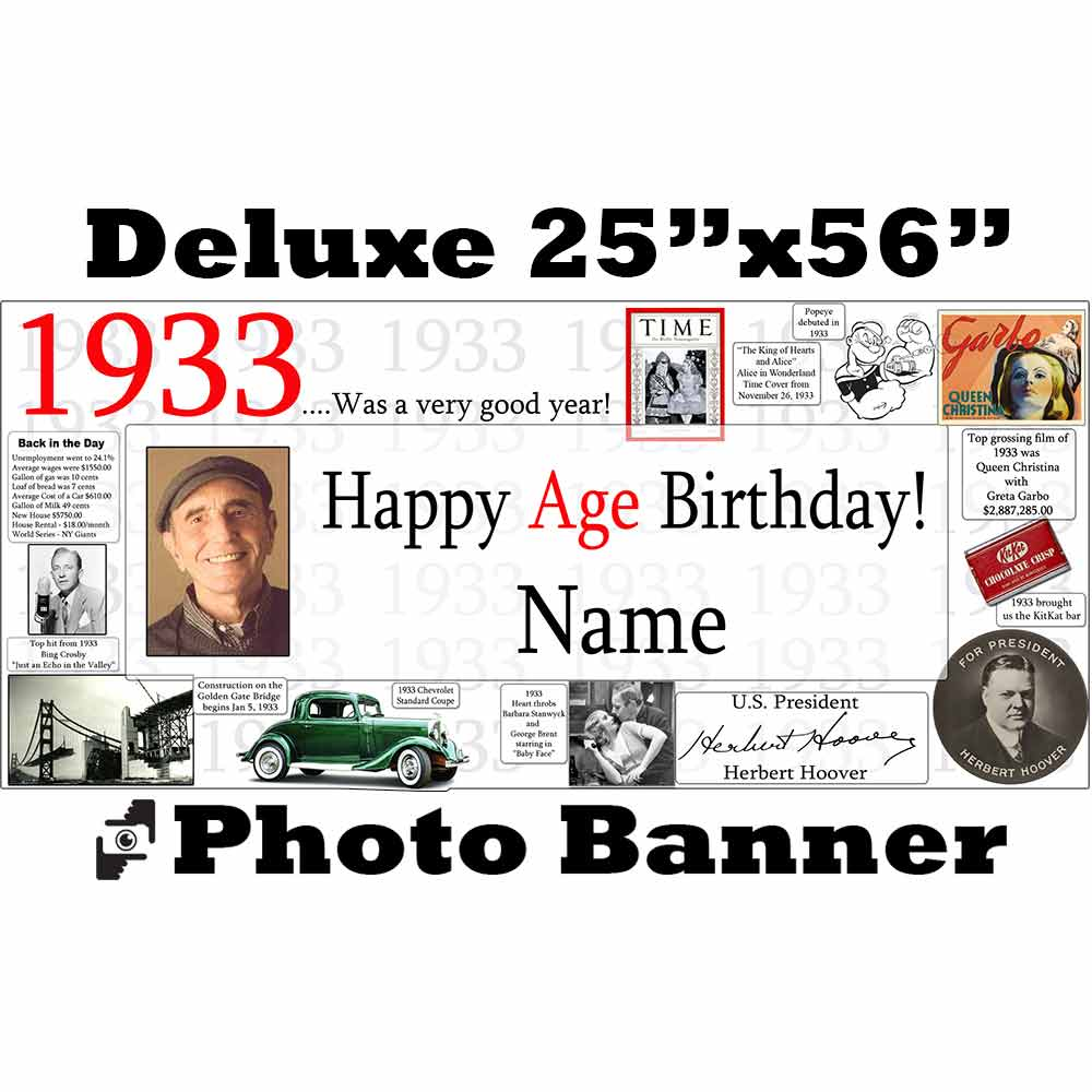 Click for larger picture of 1933 CUSTOM PHOTO DELUXE BANNER PARTY SUPPLIES