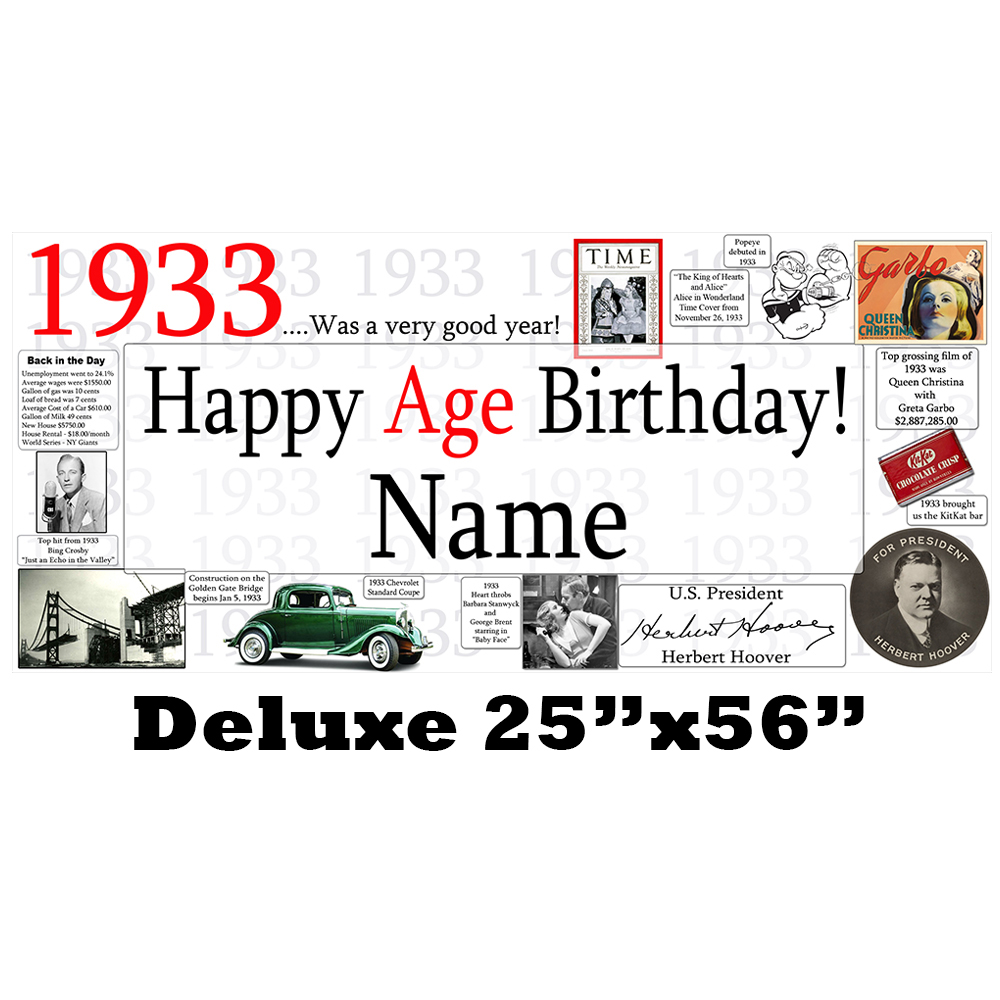 Click for larger picture of 1933 DELUXE PERSONALIZED BANNER PARTY SUPPLIES