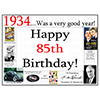 1934 - 85TH BIRTHDAY PLACEMAT PARTY SUPPLIES