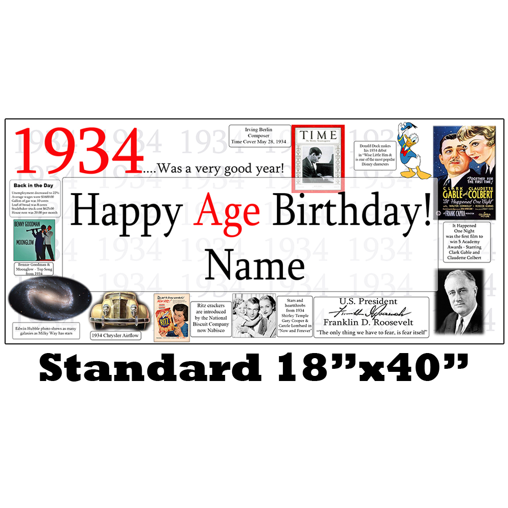 Click for larger picture of 1934 PERSONALIZED BANNER PARTY SUPPLIES
