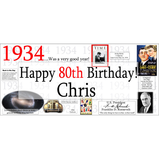Click for larger picture of 1934 DELUXE PERSONALIZED BANNER PARTY SUPPLIES
