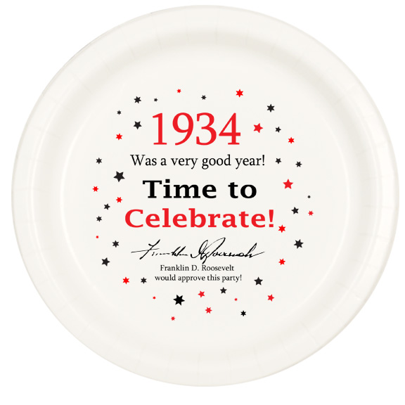 Click for larger picture of 1934 TIME TO CELEBRATE DINNER PLATE PARTY SUPPLIES