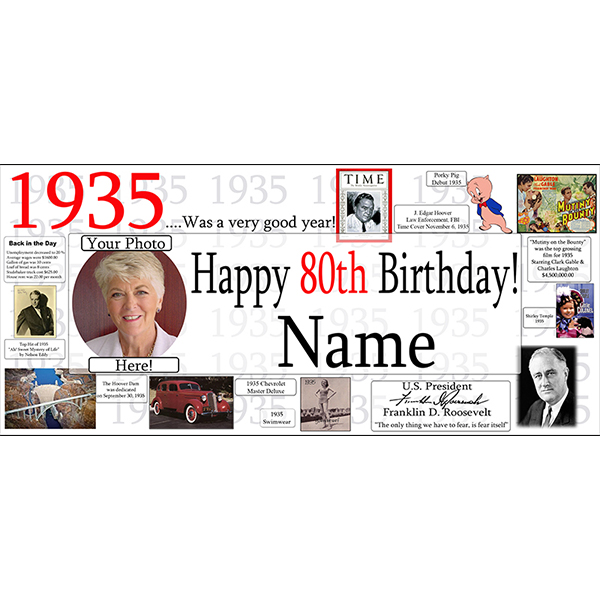 1935 CUSTOM PHOTO BANNER PARTY SUPPLIES