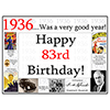 1936 - 83RD BIRTHDAY PLACEMAT PARTY SUPPLIES