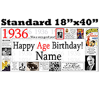 1936 PERSONALIZED BANNER PARTY SUPPLIES