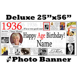 1936 CUSTOM PHOTO DELUXE BANNER PARTY SUPPLIES