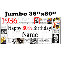 1936 JUMBO PERSONALIZED BANNER PARTY SUPPLIES