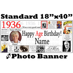 1936 CUSTOM PHOTO BANNER PARTY SUPPLIES