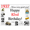 1937 - 82ND BIRTHDAY PLACEMAT PARTY SUPPLIES