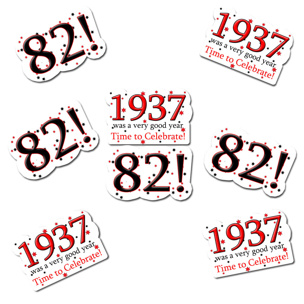 Click for larger picture of 1937 - 82ND BIRTHDAY STICKER SEAL PARTY SUPPLIES