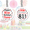 1938 - 81ST BIRTHDAY CUSTOM DANGLER PARTY SUPPLIES