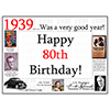 1939 - 80TH BIRTHDAY PLACEMAT PARTY SUPPLIES