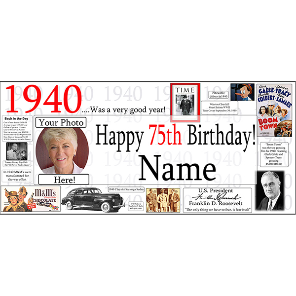 1940 CUSTOM PHOTO BANNER PARTY SUPPLIES