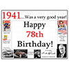 1941 - 78TH BIRTHDAY PLACEMAT PARTY SUPPLIES