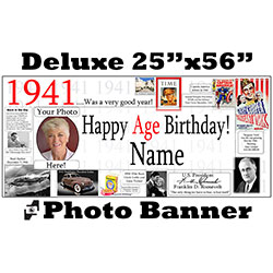 1941 CUSTOM PHOTO DELUXE BANNER PARTY SUPPLIES