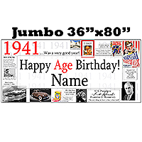1941 JUMBO PERSONALIZED BANNER PARTY SUPPLIES