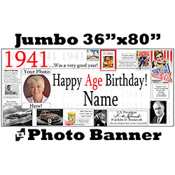 1941 CUSTOM PHOTO JUMBO BANNER PARTY SUPPLIES