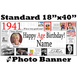 1941 CUSTOM PHOTO BANNER PARTY SUPPLIES