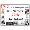 1942 - 77TH BIRTHDAY PLACEMAT PARTY SUPPLIES