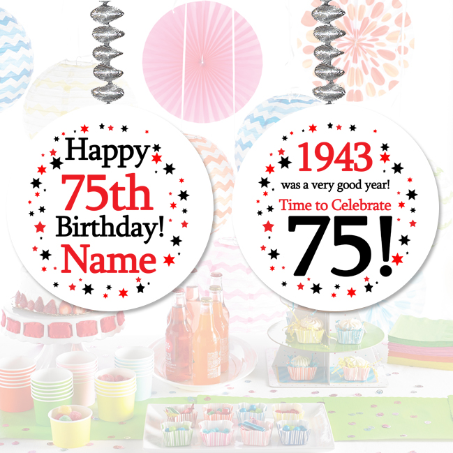 1943 party supplies 1943 75th birthday customized dangler