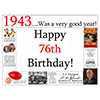 1943 - 76TH BIRTHDAY PLACEMAT PARTY SUPPLIES