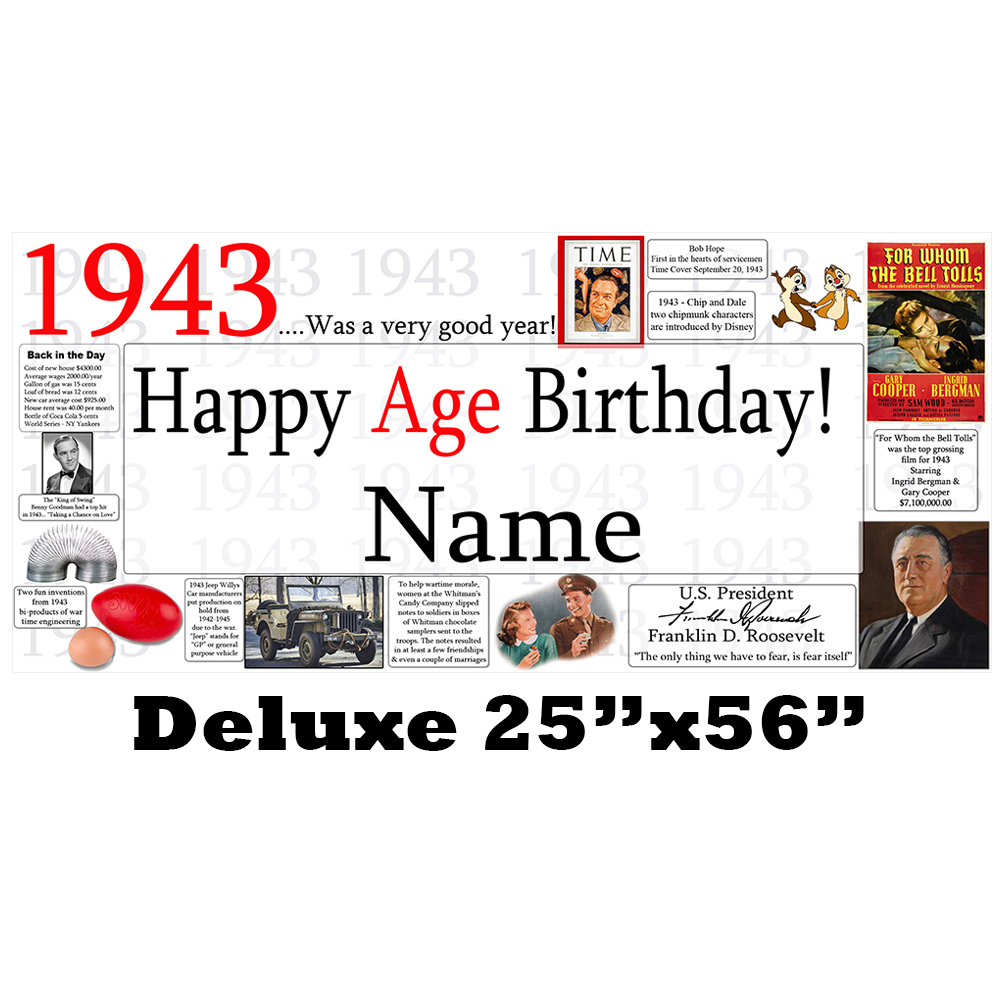 Click for larger picture of 1943 DELUXE PERSONALIZED BANNER PARTY SUPPLIES