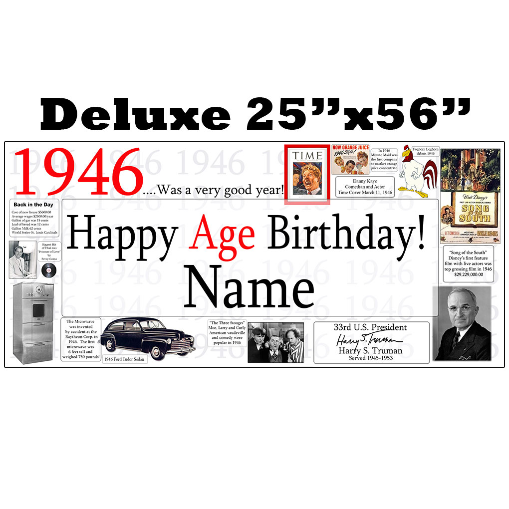 1946 Party Supplies 1946 Deluxe Personalized Banner