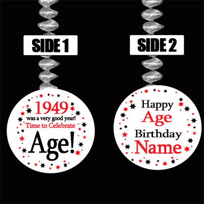 1949 BIRTHDAY CUSTOMIZED DANGLER PARTY SUPPLIES