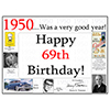 1950 - 69TH BIRTHDAY PLACEMAT PARTY SUPPLIES