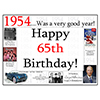 1954 - 65TH BIRTHDAY PLACEMAT PARTY SUPPLIES