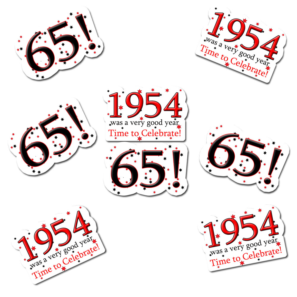 Click for larger picture of 1954 - 65TH BIRTHDAY STICKER SEAL PARTY SUPPLIES