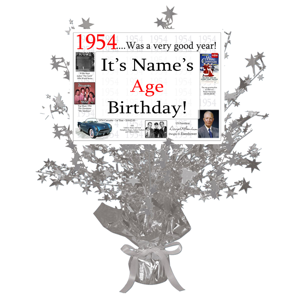 Click for larger picture of 1954 CUSTOMIZED SILVER STAR CENTERPIECE PARTY SUPPLIES